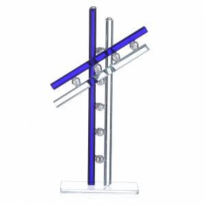 Regalos y Recuerdos: Cruz Vidrio Murano Azul 16 cm alt.