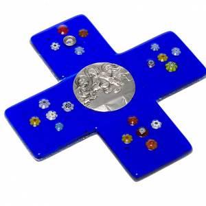Plexiglás Crucifijos: Cruz vidrio murano azul Cena Emmaus