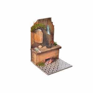 Accessori presepe per casa: Cucina con led rosso e carne 9x9,5x12