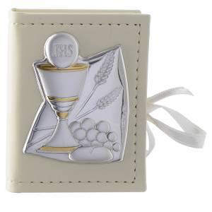 Bonbonnières: Custode chapelet Communion en imitation cuir et image bilaminé argent