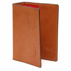 Custodia Bibbia Gerusalemme 4 Evangelisti pelle marrone s2