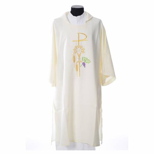 Dalmatic with embroidered Chi-Rho chalice host 100% polyester s4