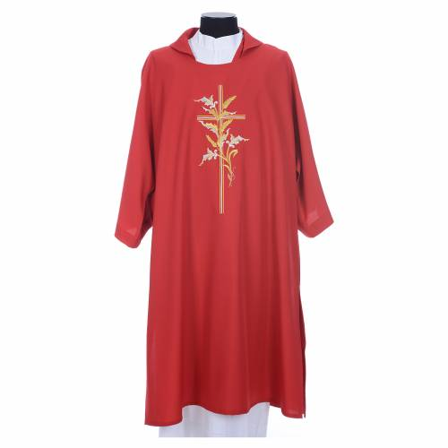 Dalmatic with embroidered ears of wheat and cross 100% polyester s5