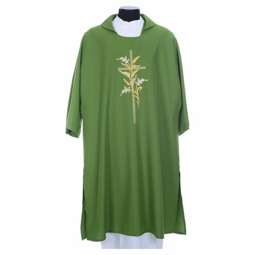 Dalmatic with embroidered ears of wheat and cross 100% polyester s3
