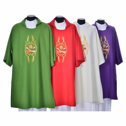 Dalmatic with the Franciscan emblem in 100% polyester s1