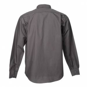 Clergy Shirts: STOCK Dark grey popeline clergyman shirt, long sleeves