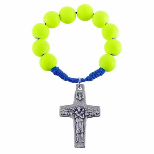 Decina rosario fimo giallo Papa Francesco s1