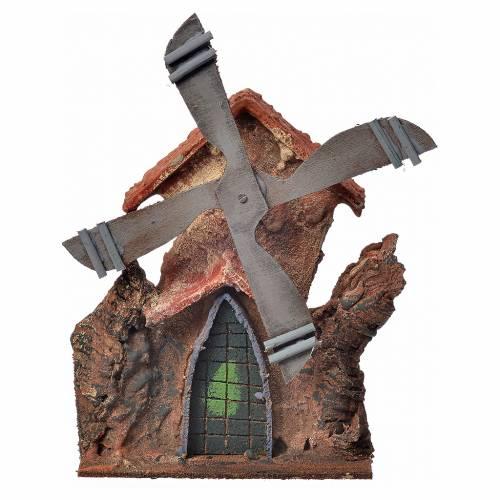 Décor crèche Napolitaine moulin à vent stucqué 23x23x20cm s1