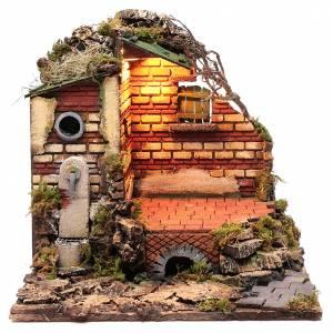 Crèche Napolitaine: Décor dans ruines fontaine et éclairage crèche de Naples 38x39,5x34,2 cm