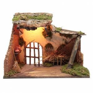 Maisons, milieux, ateliers, puits: Décor étable avec éclairage 35x50x25 cm