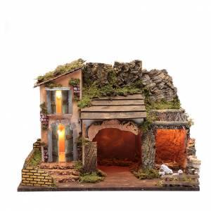 Maisons, milieux, ateliers, puits: Décor maison avec cabane et enclos 36x50x26 cm