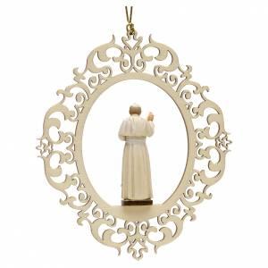 Décoration Noël Pape Jean Paul II bois s2