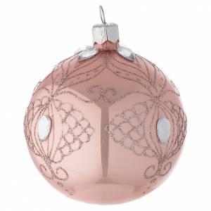 Décoration sapin boule verre rose 80 mm s2