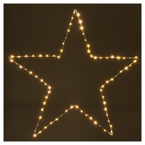 Decorazione Natalizia stella luminosa 80 LED gialloINTERNO corrente 60X60 cm s2