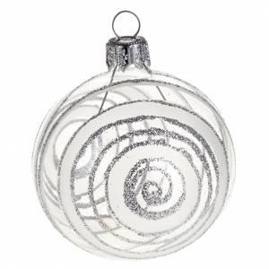 Albero Natale palla vetro argentato con glitter 6 cm s1