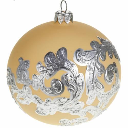 Decoro Albero Natale, palla vetro avorio argento 10 cm s1