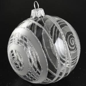 Decoro Albero Natale, palla vetro decori argento 8 cm s3