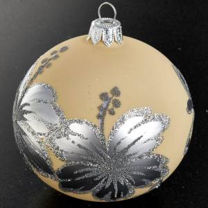 Decoro Albero Natale, palla vetro soffiato avorio argento 8 cm s2