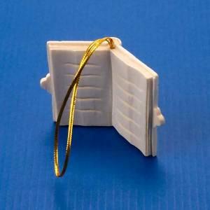 Christbaumschmuck aus Holz und PVC: Dekoration-Buch aus Holz um zu haengen