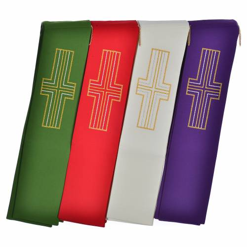 Diaconal stole in polyester with cross s1