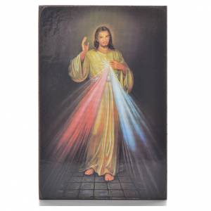 Divine Mercy black print on wood 15x10cm s1