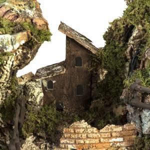 Krippe Hütten und Grotten: Dorf für Krippe beleuchtet mit Hütte 58x50x38 cm