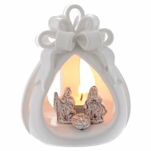 Terracotta Nativity Scene figurines from Deruta: Drilled candle in terracotta from Deruta 12 cm