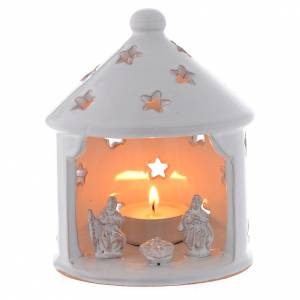 Terracotta Nativity Scene figurines from Deruta: Drilled Christmas hut shaped candle holder in terracotta 13 cm