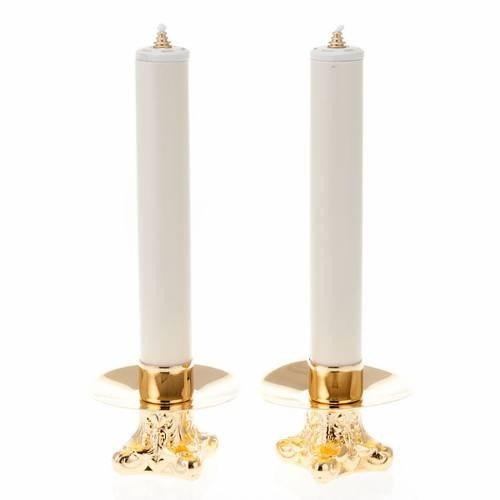 Duo chandeliers, métal doré, base trois pieds,h 12 s1