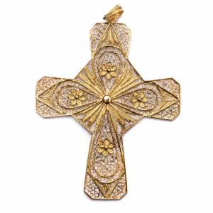 Ecclesiastical cross in gold plated silver, filigree decoration s1