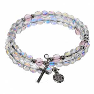 Spiralförmige Rosenkratz Armbänder: Spiralenförmiges Rosenkranz-Armband mit Glasperlen