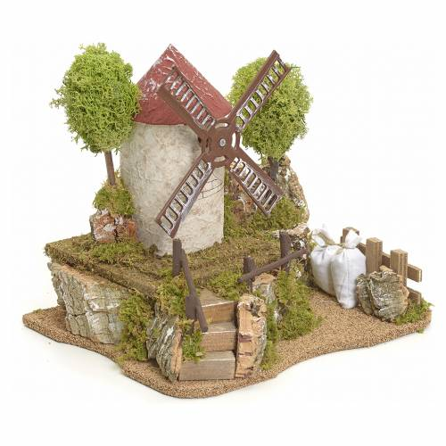 Electric wind mill with trees, Nativity setting s2