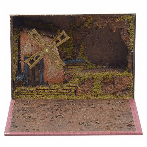 Electric windmill for nativities inside a book 19x24x8cm s1