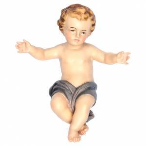 Enfant Jésus bras ouverts en bois drap bleu s1