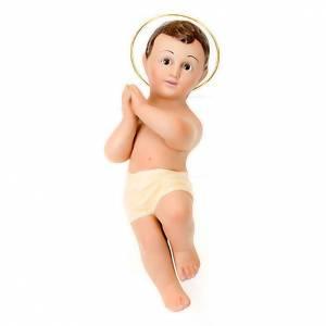 Statues Enfant Jésus: Enfant Jésus en plâtre auréole, 25 cm