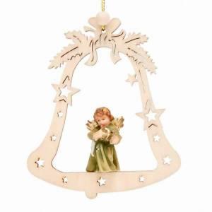 Christbaumschmuck aus Holz und PVC: Engel auf Glocke