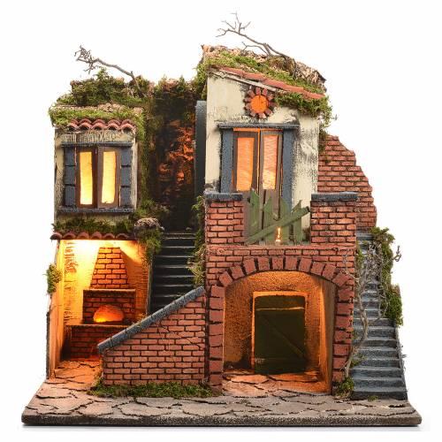 Escenografía belén napolitano estilo 700, horno y luz 47x50x41 s1
