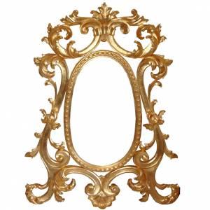 Ambones, reclinatorios, mobiliario religioso: Espejo entallado a mano acabado con pan de oro de estilo barroco 130x80 cm