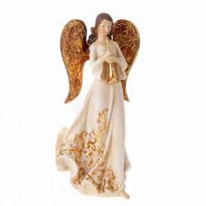 Estatuillas tres ángeles con instrumentos blancos y dorad s4
