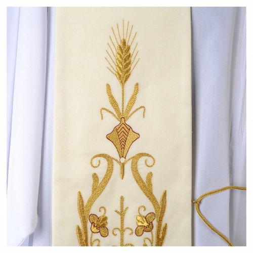 Estola blanca bordado dorado lana s2