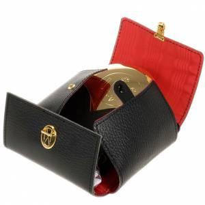 étui cuir noir avec custode, 9cm diamètre s1