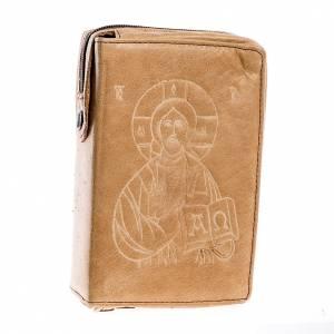 Etui pour liturgie 4 volumes, Jésus Pantocrator, marron cl s1