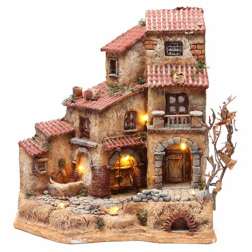 Farmhouse in resin for nativities with fountain 39x36x20cm s1