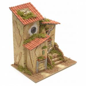 Farmhouse with two entrances for nativities 25x21x16cm s2