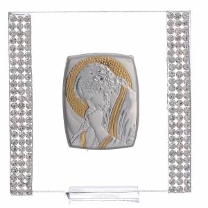 Bonbonnière: Favour with image of Christ in silver and rhinestones 7x7cm