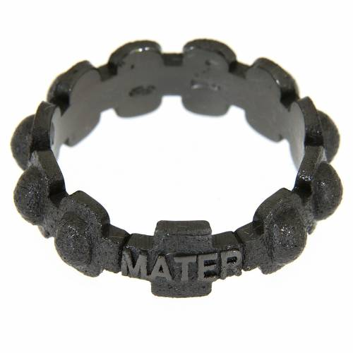 Fedina rosario MATER sabbiata nera argento 925 s2