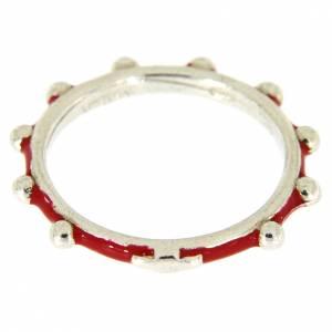 Anelli preghiera: Fedina rosario MATER smaltata argento 925 rossa