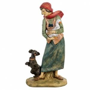 Santons crèche: Femme avec chien crèche noel 52 cm Fontanini