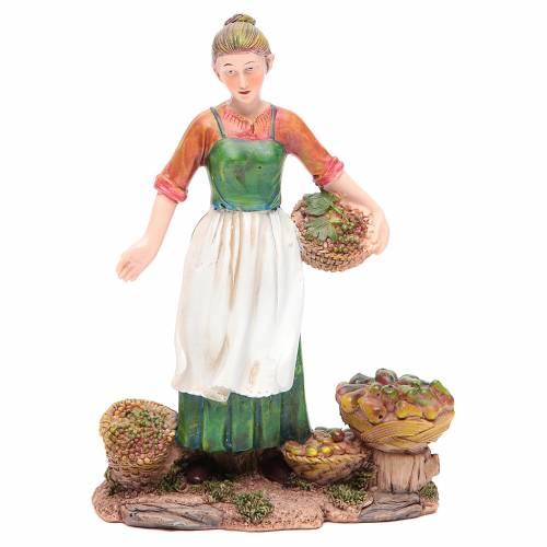 Femme avec fruits et légumes 21 cm crèche résine s1
