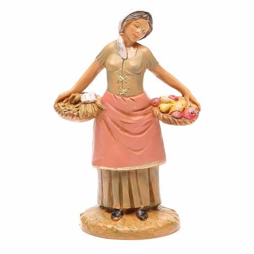 Femme panier fruits 12 cm crèche Fontanini s1